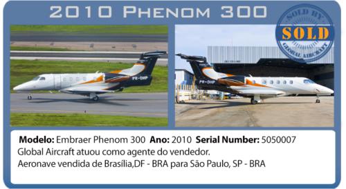 Jato Executivo 2010 Phenom 3oo vendido por Global Aircraft