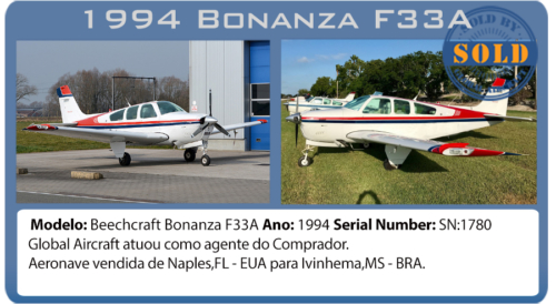 Avião Beechcraft Bonanza F33A vendido por Global Aircraft