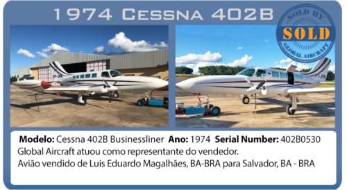 Avião Cessna 402B vendido por Global Aircraft