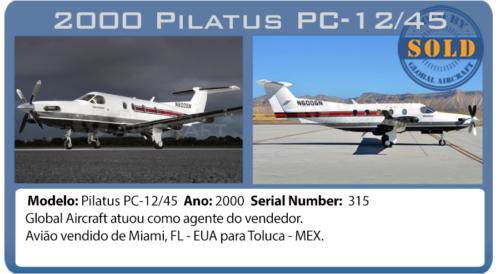 Avião 2000 Pilatus PC12/45 vendido pela Global Aircraft