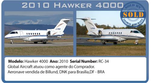 Jato Executivo 2010 Hawker 4000 vendido por Global Aircraft