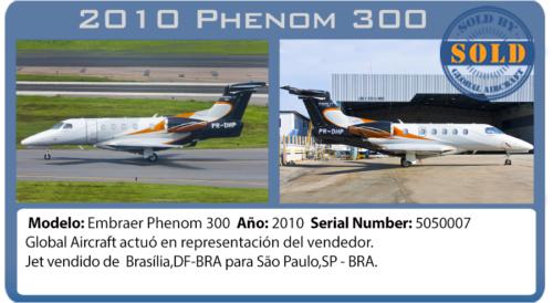 Jet Ejecutivo 2010 Phenom 3oo vendido por Global Aircraft