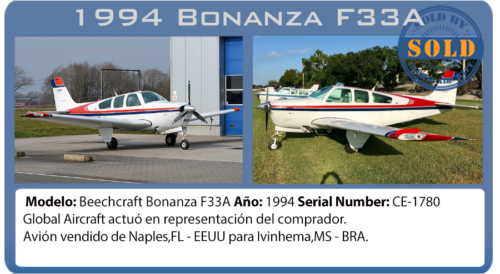 Avión pistón Beechcraft Bonanza F33A vendido por Global Aircraft