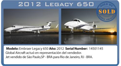 Jet ejecutivo 2011 Legacy 650 vendido por Global Aircraft