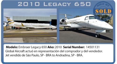 Jet ejecutivo 2010 Legacy 650 vendido por Global Aircraft