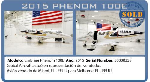 Jet ejecutivo Phenom 100E vendido por Global Aircraft