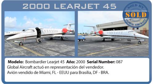Jet 2000 Bombardier Learjet 45 vendido pela Global Aircraft