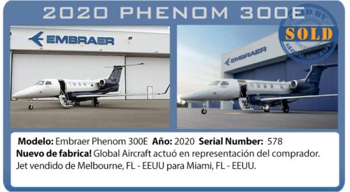 Jet ejecutivo Phenom 300E vendido por Global Aircraft