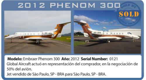 Jet ejecutivo 2012 Phenom 300 vendido por Global Aircraft