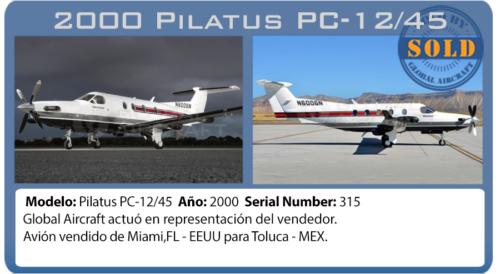 Avion 2000 Pilatus PC12/45 vendido pela Global Aircraft