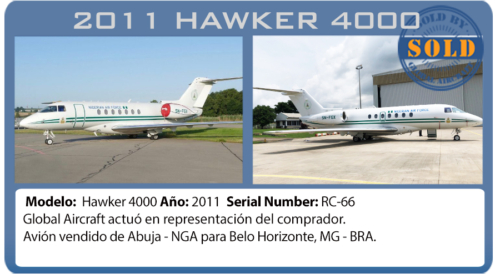 Jet Ejecutivo 2011 Hawker 4000 vendido por global aircraft