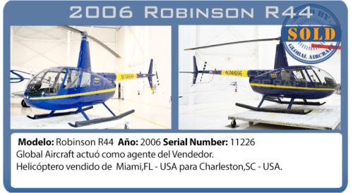 Helicóptero 2006 Robinson R44 Clipper II vendido por Global Aircraft