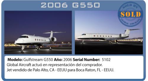 Jet ejecutivo 2006 Gulfstream G550 vendido por Global Aircraft
