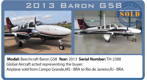 Airplane 2013 Baron G58 sold by Global Aircraft