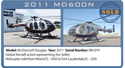 Helicopter 2011 MD600N sold by Global Aircraft