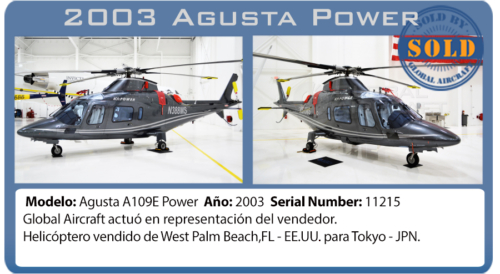 Helicopter 2003 Agusta Power sold by Global Aircraft