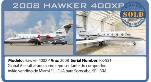 Jato 2008 Hawker 400XP vendido por Global Aircraft