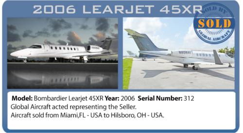 Jato 2006 Learjet45XR vendido por Global Aircraft