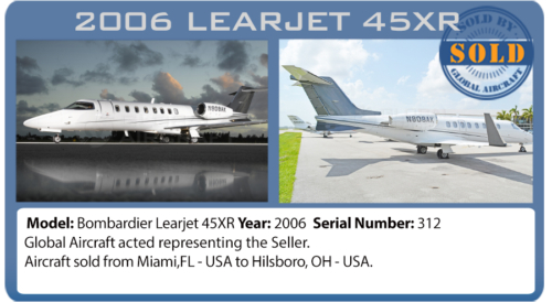 Jet Learjet 45XR sold by Global Aircraft