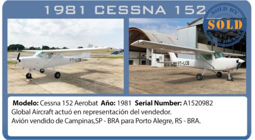 Avión Cessna 152 AEROBAT vendido por Global Aircraft