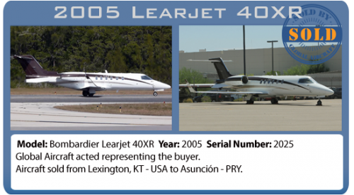 Jet 2005 Bombardier Learjet 40XR sold