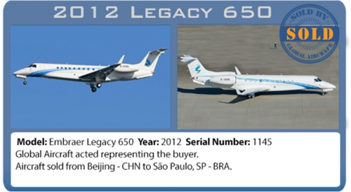 Jet Embraer Legacy 650 Sold by Global Aircraft Corp