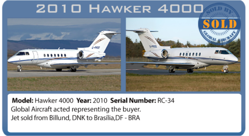Jet 2010 Hawker 4000 sold by Global Aircraft