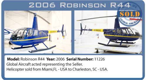 Helicopter 2006 Robinson R44 clipper II sold by Global Aircraft